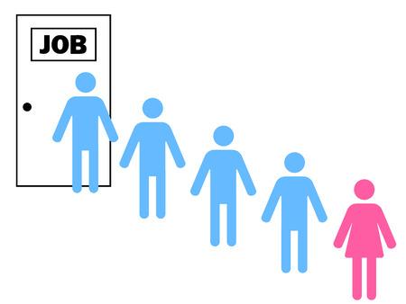 discriminacion: mujer de pie después de los hombres en una cola para un trabajo