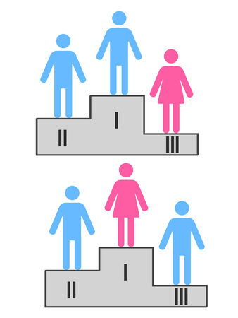 challenging sex: sport podium with male and female figures as winners