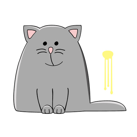 wee: cute grey cat sitting near the yellow pee spot on the wall vector illustration Illustration