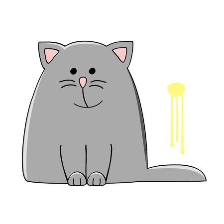 cute grey cat sitting near the yellow pee spot on the wall vector illustration Illustration