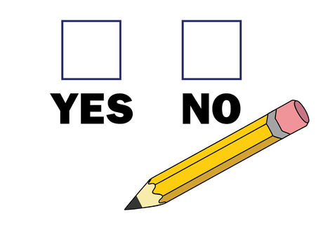 checkboxes: pencil near checkboxes with yes and no marks vector illustration