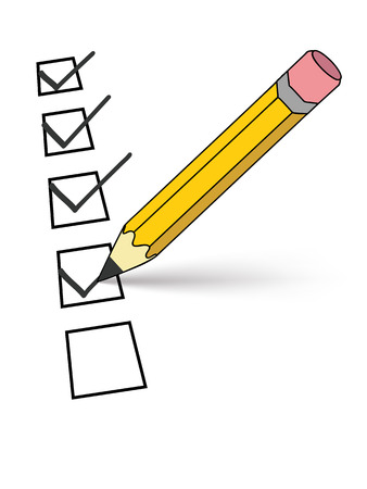 pencil writing: a pencil putting ticks in checkboxes on a piece of paper