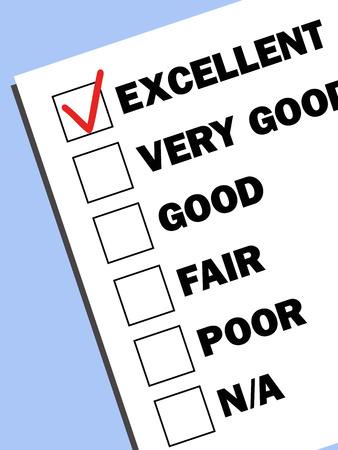 test results: caselle con i risultati dei test con un segno di spunta su eccellente mark