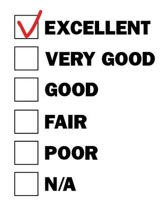 result: test result check boxes with marks from excellent to poor