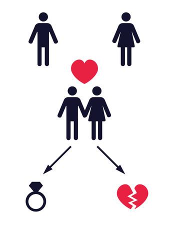2 つの代替の決勝で愛の物語ピクトグラムですか?ベクトル イラスト 写真素材 - 36045581