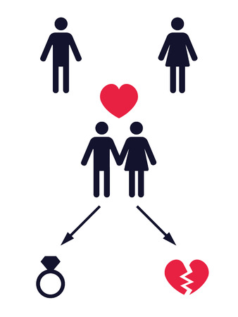 love affair: love story pictogram with two alternative finals ? vector illustration