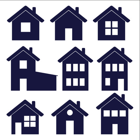 garage on house: a set of house icons ? vector illustration