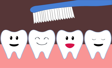 ブラッシング中に漫画幸せな歯の行