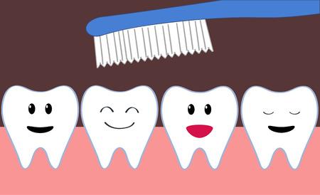 dientes caricatura: hilera de dientes felices del dibujo animado durante el cepillado Vectores