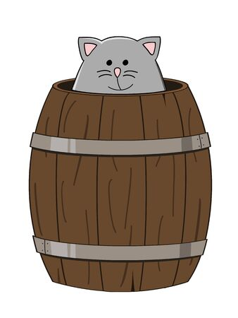 grey cat: cute grey cat looking out a wooden barrel
