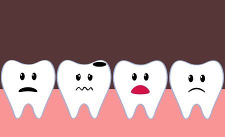 health cartoons: row of cartoon teeth in mouth with one bad tooth