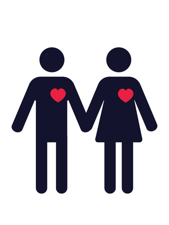 nude man: man and woman pictograms with red hearts Illustration