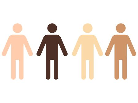 four pictograms of human figures with different skin color