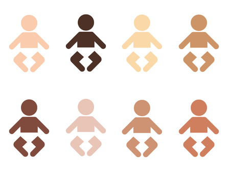 skin color: set of pictogram icons of different nationalities infants