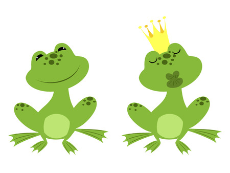 charmed: regular sitting frog and charmed prince frog in a golden crown waiting for a kiss Illustration