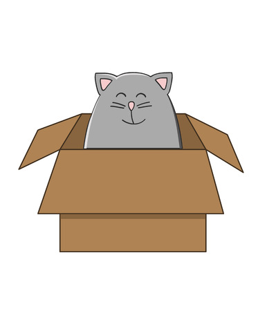 grey cat: cute grey cat sitting in a carton box smiling Illustration