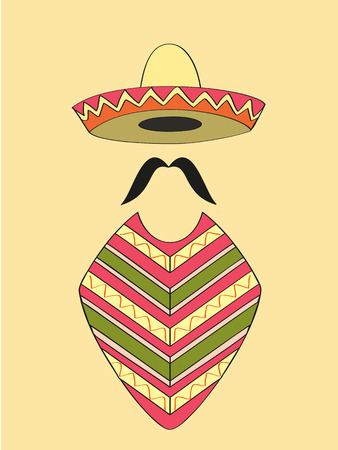Mexican outfit of sombrero hat, long moustache and poncho Foto de archivo - 41955977