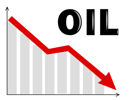 stock market graph: a diagram with an oil text and an arrow going down Illustration