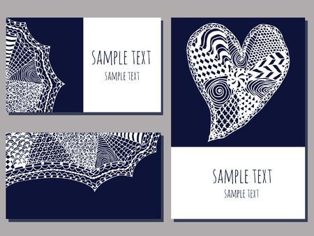 set of cards templates with zentangle hand drawn ornament of blue and white color vector illustration Иллюстрация