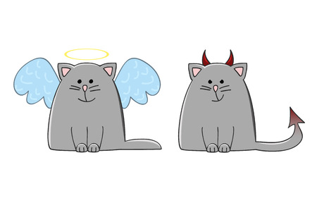 halo angel: angel cat and devil cat vector illustration