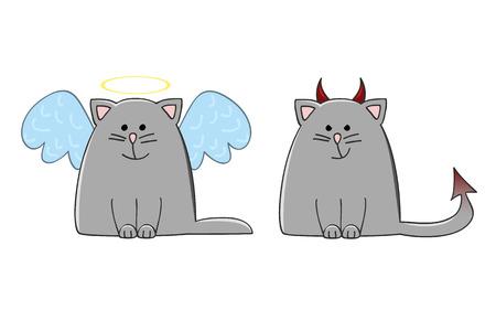 angel cat and devil cat vector illustration