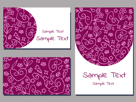 set of cards templates with floral ornament of purple and white color vector illustration Иллюстрация