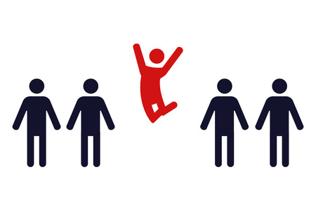 one happy jumping human figure in a row of identical standing men - vector illustration Vettoriali