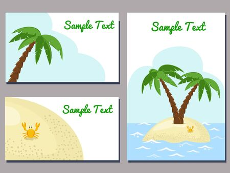palm trees: set of cards templates with tropical island image vector illustration Illustration