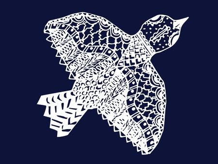 white zentangle hand drawn bird on blue backdrop vector illustration