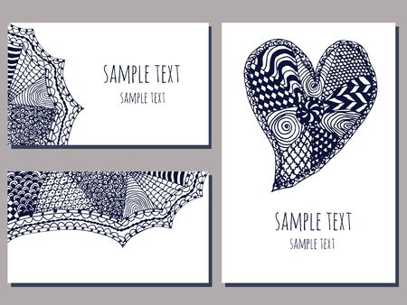 wedding  art: set of cards templates with zentangle hand drawn ornament of blue and white color vector illustration Illustration