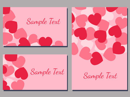 set of cards templates with heart pattern  vector illustration Vettoriali