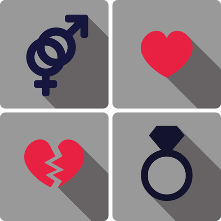 romance love: set of flat icons related to love and romance vector illustration Illustration