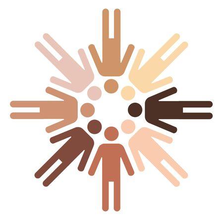 circulo de personas: pictogramas de figuras humanas con diferente color de la piel formando un círculo