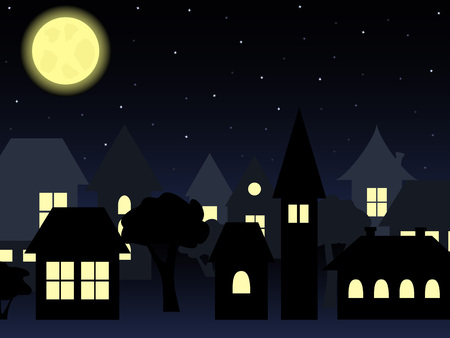 night landscape of old-fashioned houses with a shining moon and starry sky Иллюстрация