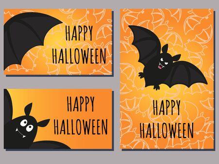 set of Halloween cards with cute cartoon bats
