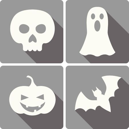 scull: set of four Halloween icons with images of a bat, scull, jack-o-lantern and a ghost