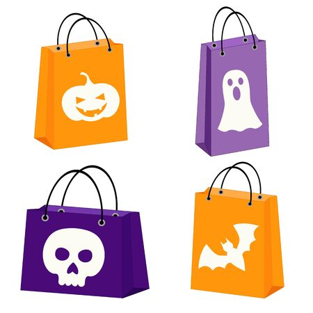 shopping bag vector: set of four Halloween bags with images of a bat, scull, jack-o-lantern and a ghost