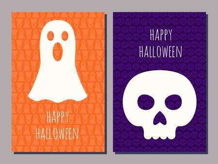 greeting cards: set of two Halloween greeting cards with a scull and a ghost and text Happy Halloween