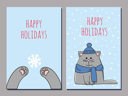 chubby cartoon: set of two greeting cards with a kitten on a snowy background and cats paws catching a snowflake Illustration