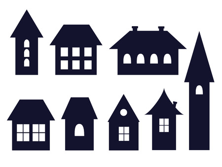 house building: set of old fashioned houses icons vector illustration