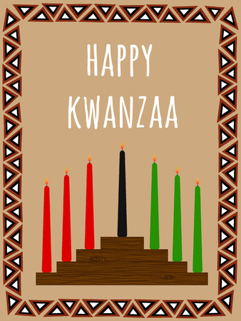 kwanzaa: Kwanzaa postcard with a seven candles candlestick, African ornate frame and text Happy Kwanzaa