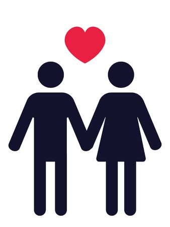 man and woman holding hands pictogram with a red heart above