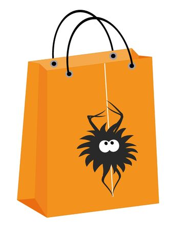 treats: vector Halloween shopping bag with a spider hanging on a web Illustration