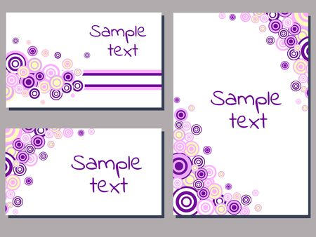 set of cards templates with pink and purple circle ornament