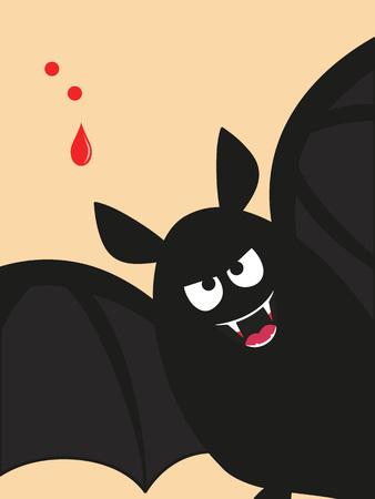 cartoon vampire: a vampire bat flying near a two-hole bite and drop of blood