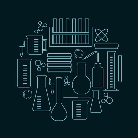 laboratorium glas en apparatuur pictogrammen geplaatst in een cirkel