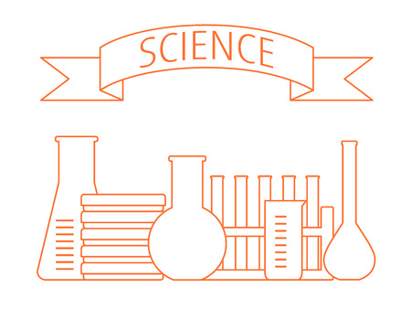 set van laboratorium glas en een tekst banner SCIENCE boven
