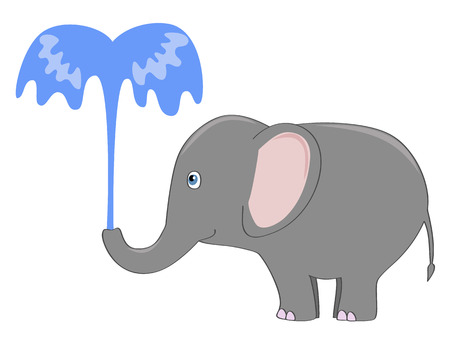귀여운 회색 코끼리 물 분수와 함께 자신을 붓는