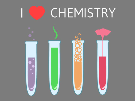 analyzing: a row of four lab tubes with colored liquids and text I love chemistry above Illustration