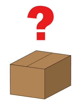 closed brown cardboard box and a question mark above